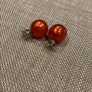Orange round Pearl Front and Back Stud Earring